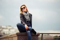Portrait of happy young fashion woman outdoor Stock Images
