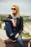 Portrait of happy young fashion woman outdoor Royalty Free Stock Photography