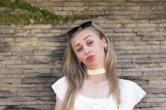 Cheerful blonde model stock images