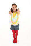 Portrait Of Happy young Girl Giving Thumbs Up Royalty Free Stock Image