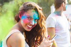 Portrait of happy young girl on holi color festival Royalty Free Stock Image