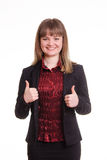Portrait of a happy young girl in jacket shows class Royalty Free Stock Photography