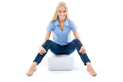 Portrait of a happy young girl with laptop computer Stock Image
