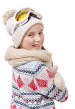 Portrait of a happy young girl snowboarding Royalty Free Stock Photo