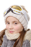 Portrait of a happy young girl snowboarding Royalty Free Stock Photography