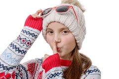 Portrait of a happy young girl snowboarding Stock Image