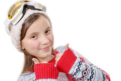 Portrait of a happy young girl snowboarding Royalty Free Stock Photos