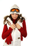 Portrait of a happy young girl snowboarding.  Royalty Free Stock Photos
