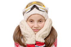 Portrait of a happy young girl snowboarding, isolated on white Royalty Free Stock Image