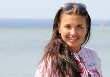 Portrait happy young girl in vacation. In sea Royalty Free Stock Photo