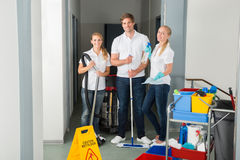 Portrait Of A Happy Young Janitors Stock Photos