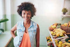 Portrait of happy young juice bar owner Royalty Free Stock Image