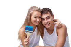 Portrait of happy young loving couple Stock Photo