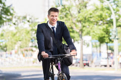 Male Businessman Riding Bicycle royalty free stock photos