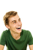 Portrait of a happy young man. Closeup portrait of a happy young man smiling on white background Royalty Free Stock Photos