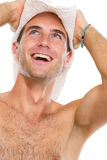 Portrait of happy young man in beach hat Royalty Free Stock Images
