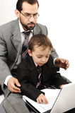 Portrait of a happy young man and his son Stock Images