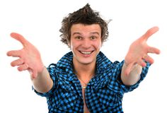 Portrait of happy young man isolated background Stock Image