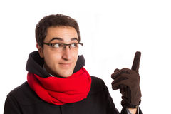Portrait of  happy young man with montgomery and red scarf,  iso Stock Image