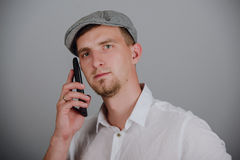 Portrait Of Happy Young Man Talking On Cell Phone Stock Images