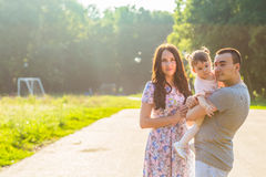 Portrait of happy Young Mixed Race Ethnic Family Outdoors stock photography