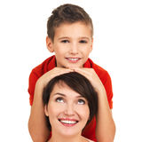 Portrait of a happy young mother with son Royalty Free Stock Images