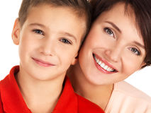 Portrait of a happy young mother with son Royalty Free Stock Image
