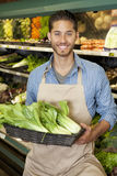 Portrait of a happy young salesperson with bok choy in market Royalty Free Stock Images