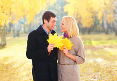 Portrait of happy young smiling couple with yellow maple leafs in warm sunny Royalty Free Stock Images
