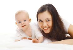 Portrait of happy young smiling mom and sweet baby Royalty Free Stock Images