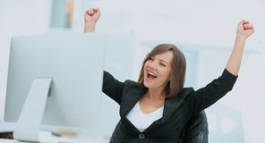 Exited, successful business woman Royalty Free Stock Images