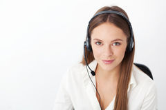 Portrait of happy young support phone operator with headset. stock photos
