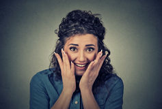 Portrait happy young surprised woman Stock Photography