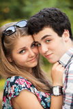 Portrait happy young teenage couple Stock Photo