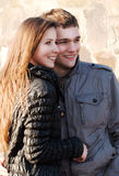 Portrait happy young teenage couple Stock Photos