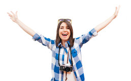 Portrait of a happy young tourist Royalty Free Stock Photography