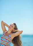 Portrait of happy young woman on beach Royalty Free Stock Images
