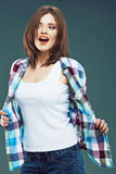 Portrait of happy young woman casual style dressed. Royalty Free Stock Image