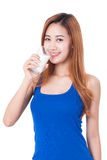 Portrait of happy young woman drinking milk Stock Photography