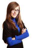 Portrait of a happy young woman in glasses Stock Photo