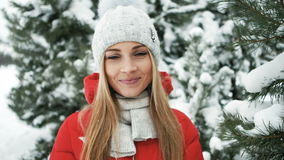 Portrait of happy young woman have fun at beautiful sunny winter day stock footage