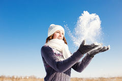 Portrait of happy young woman have fun at winter Royalty Free Stock Photography