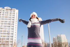Portrait of happy young woman have fun at winter Stock Images