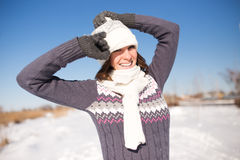Portrait of happy young woman have fun at winter Royalty Free Stock Image