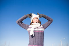 Portrait of happy young woman have fun at winter Royalty Free Stock Images