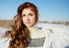 Portrait of happy young woman have fun at winter Stock Photo