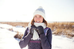 Portrait of happy young woman have fun at winter Royalty Free Stock Photos