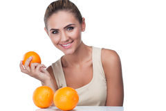 Portrait of happy young woman with juice Stock Image