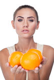Portrait of happy young woman with juice royalty free stock photo