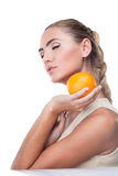 Portrait of happy young woman with juice royalty free stock photos
